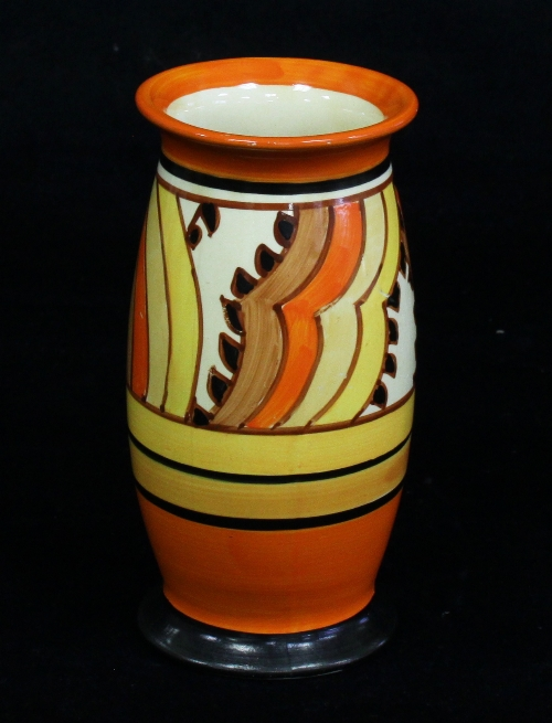 A Clarice Cliff Bizarre Vase Sharks Teeth Pattern Shape No 263