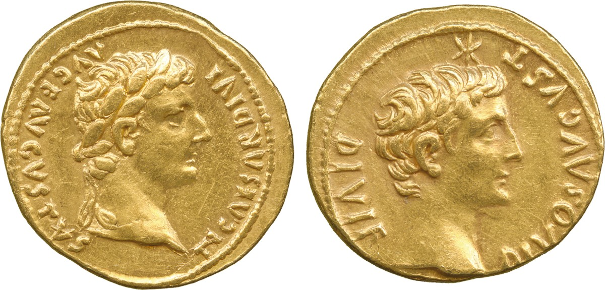 Lot 4 - ANCIENT COINS. Roman Coins. Mint of Rome unless otherwise stated. Tiberius (A.D. 14-37), Gold