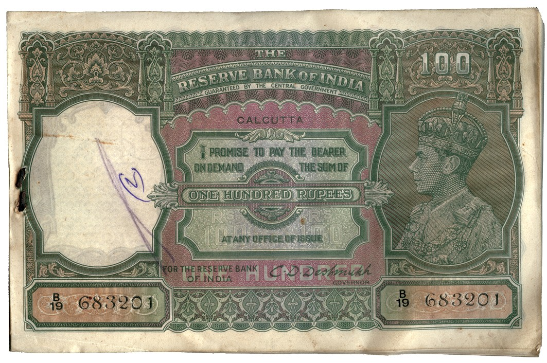 BANKNOTES, INDIA Reserve Bank of India: 100-Rupees (100), ND (c.1944), Calcutta, original stpled
