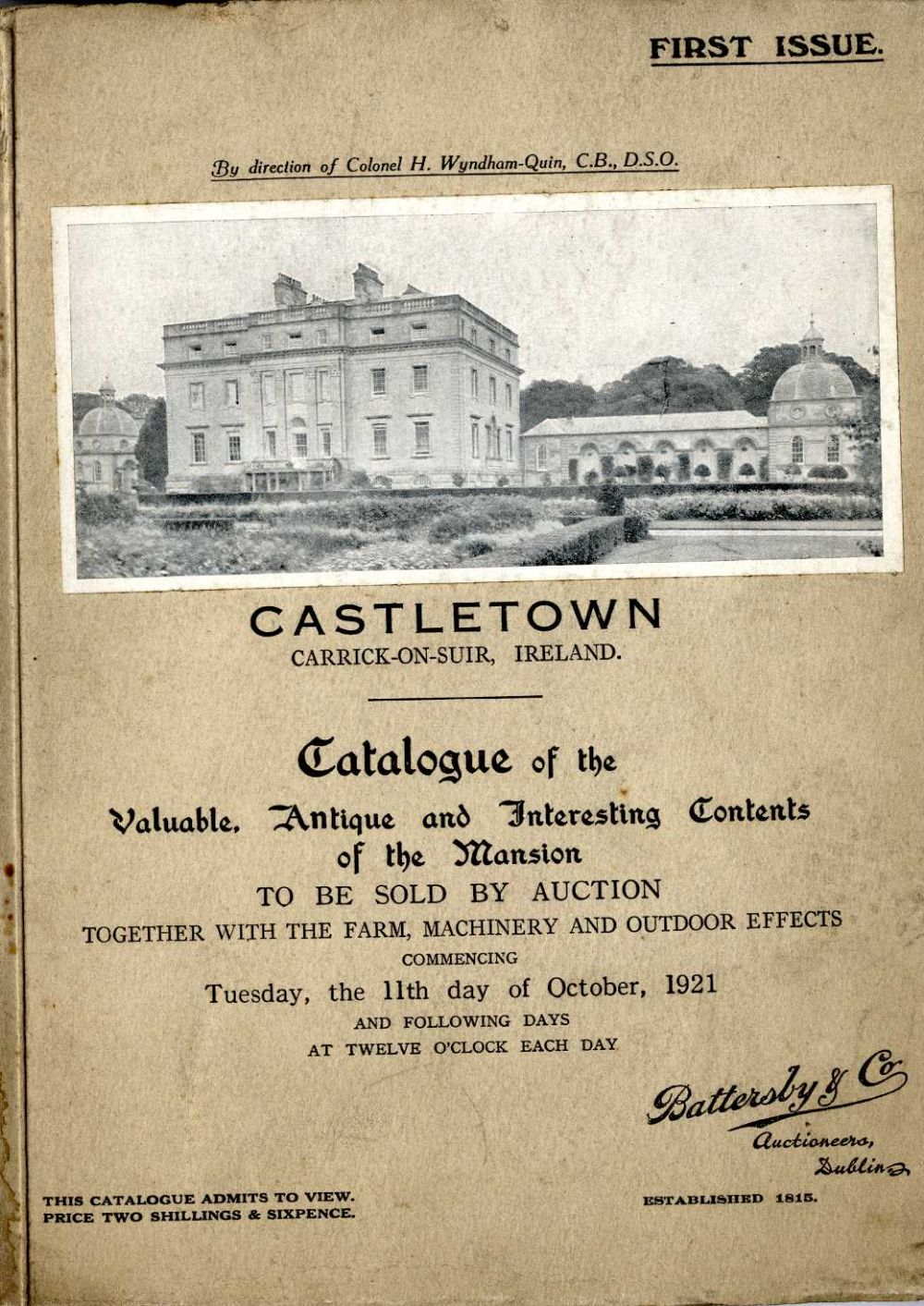a11db0a9c8 Lot 329 - Rare Country House Auction Catalogue Co. Tipperary Auction   Castletown