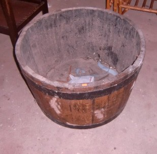 Lot 14 - A very large iron bound wooden Wine Tub, with stamp on bottom. (1)