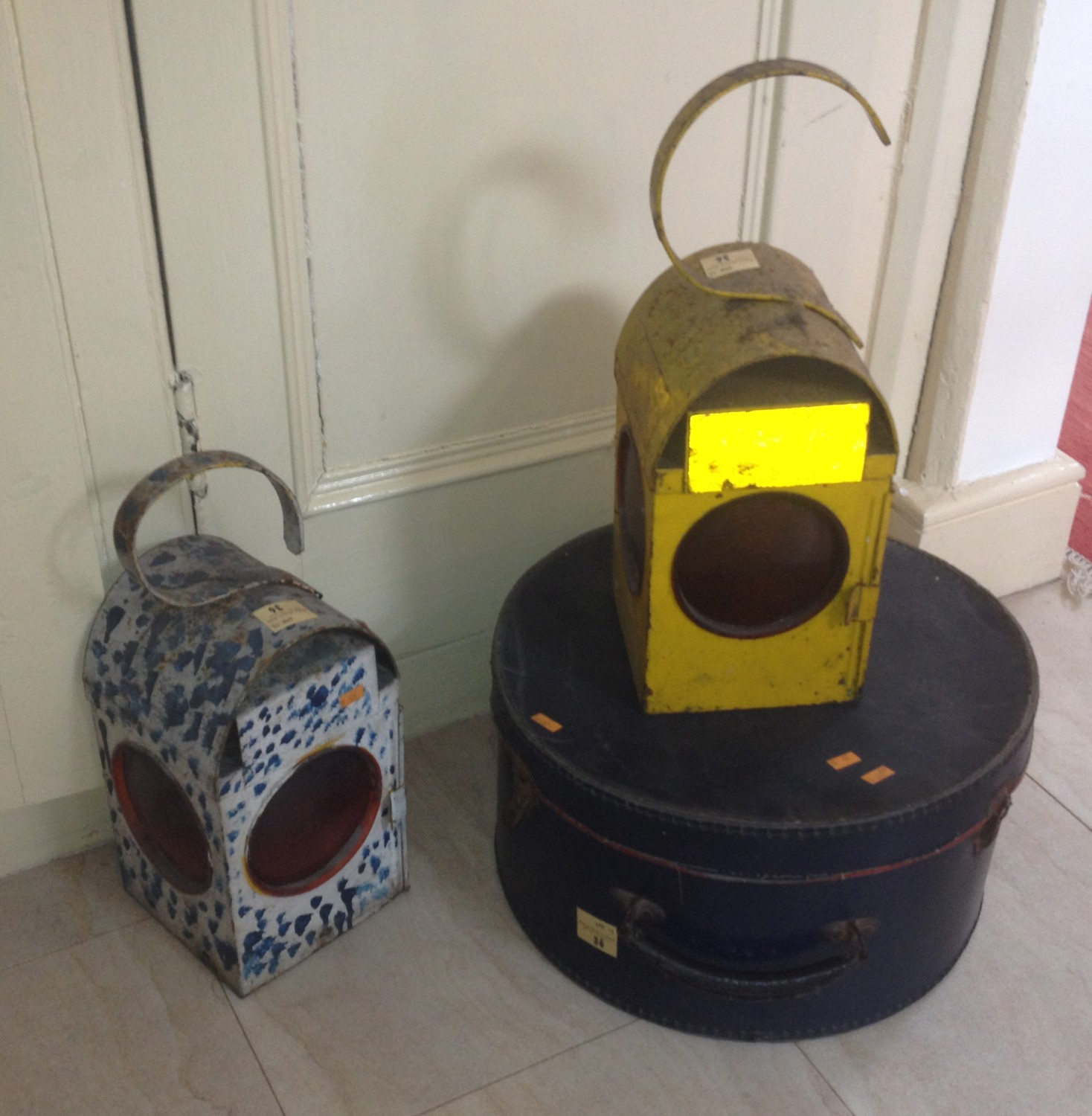 Lot 36 - A painted Kitchen Weighing Scales, and weights, a wooden hanging Lantern, an old metal Teapot Stand,