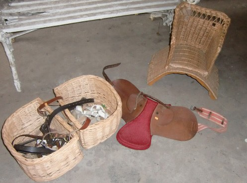 Lot 43 - A leather Child's Saddle, a Child's Basket Saddle and other similar items. (a lot)