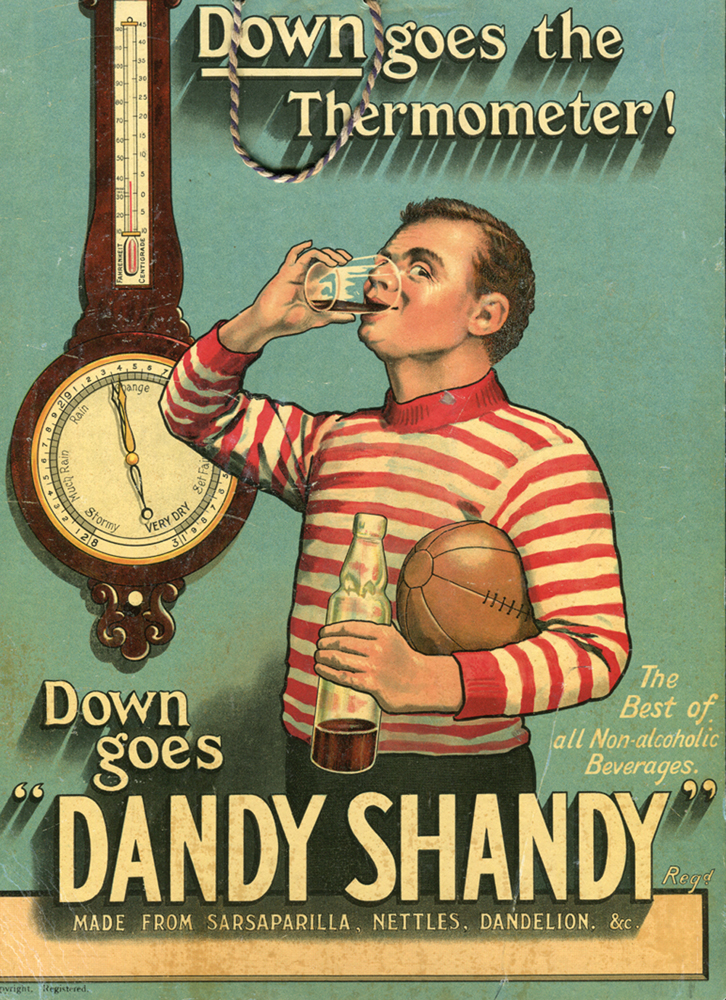 Lot 1065 - ?Down Goes Dandy Shandy. Down goes the Thermometer!?. Attractive original chromolithograph