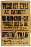 Lot 1066 - ?Welsh Cup Final 1920. Large original poster for the Final between Wrexham and Cardiff City to be