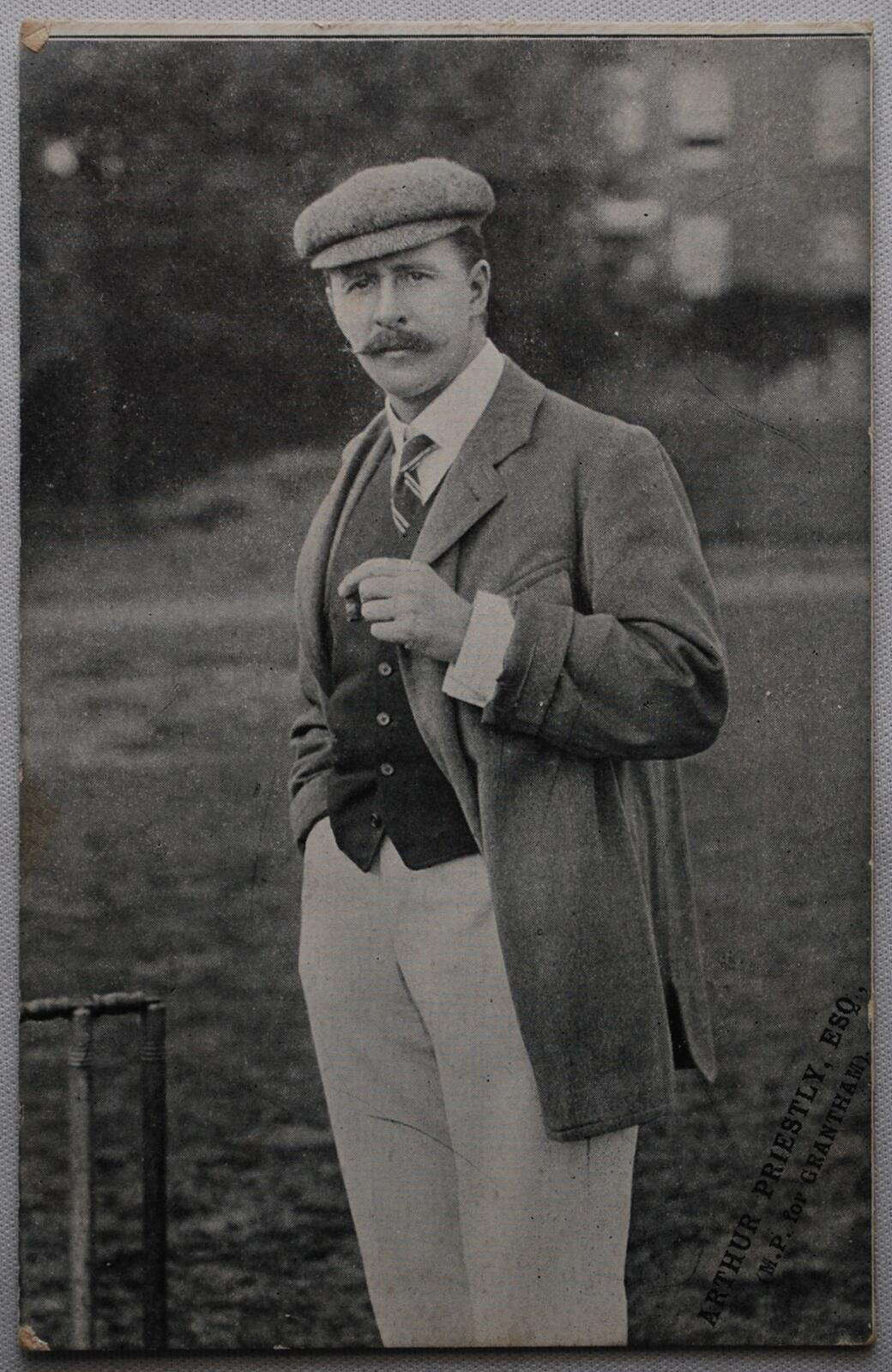 Lot 424 - ?Arthur Priestley. M.P. for Grantham?. Mono printed postcard of Priestley standing at the wicket in