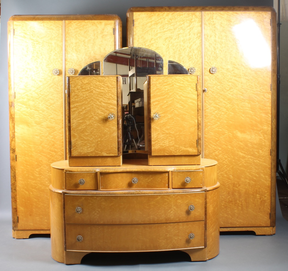 A 1950`s Austin Suite Of Birds Eye Maple Bedroom Furniture