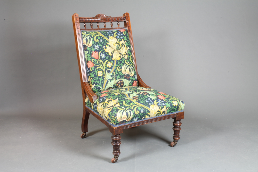 An Edwardian Carved Walnut Easy Chair Upholstered In William - William morris chairs