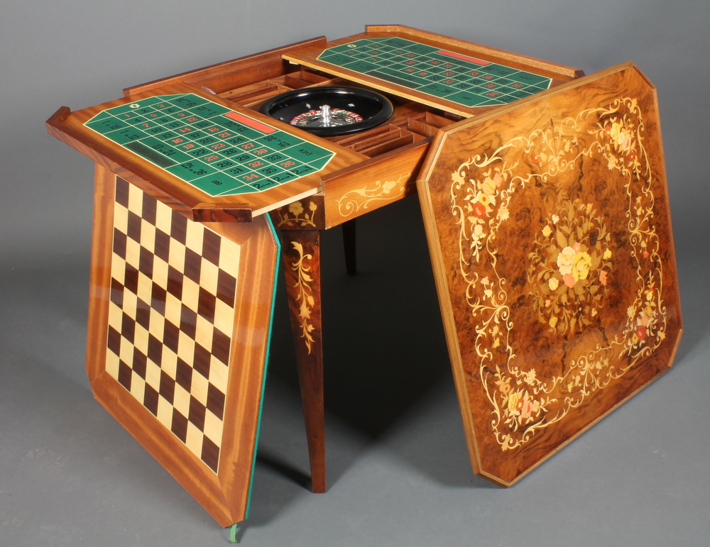 Lot 50C   A Square Sorrento Style Inlaid Games Table Incorporating A  Roulette Wheel And Table
