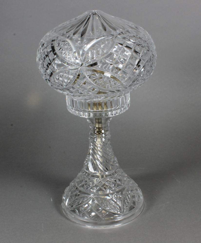 "A circular cut glass table lamp and shade 13"""