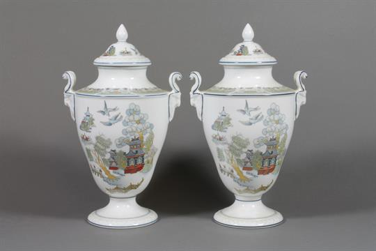 A Pair Of Wedgwood Chinese Legend Urns And Covers Decorated In The