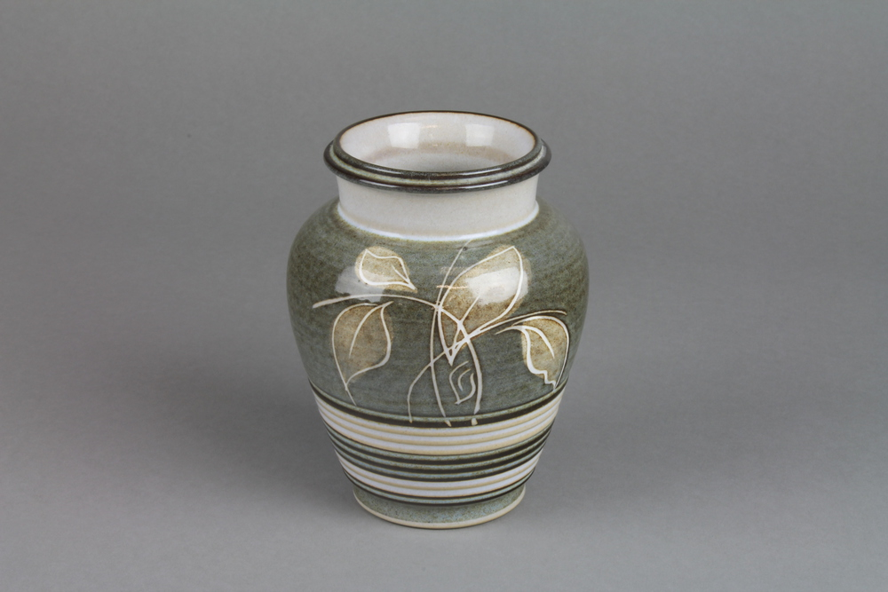 A Denby Studio Oviform Vase Decorated With Stylised Leaves 5quotquot