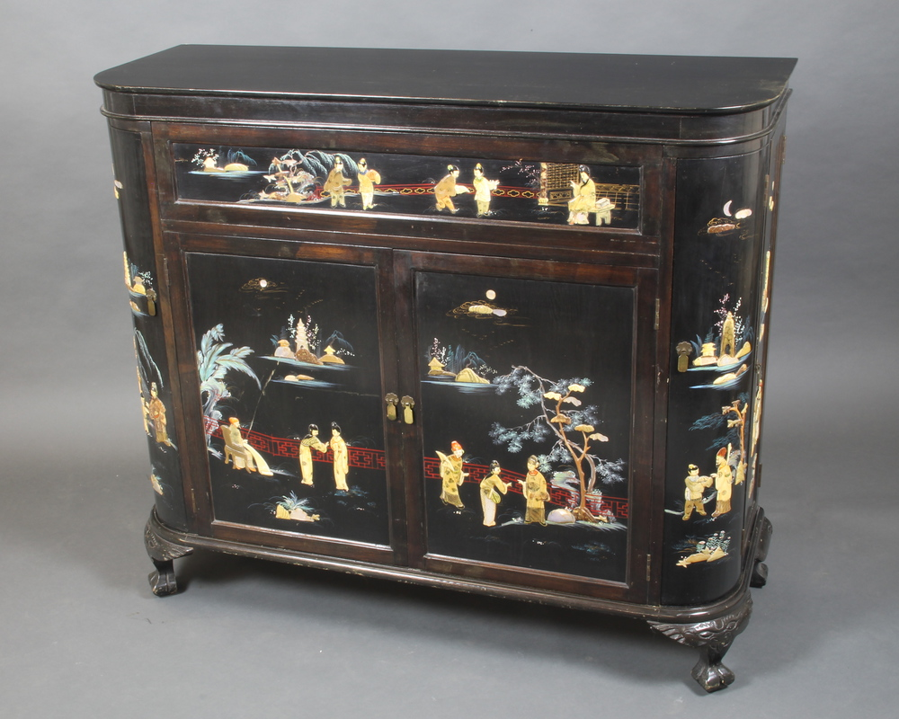 A 18`s Chinese black lacquered and inlaid hard stone cocktail ...