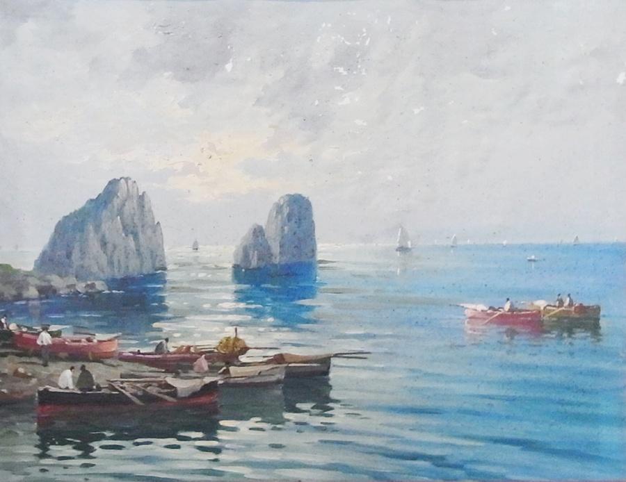 Lot 520 - Oil on canvas Neapolitan school  Italian fisherman in calm coastal scene with protruding rocks, 32cm