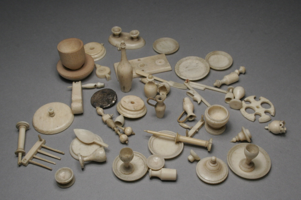 A Collection Of Nineteenth Century Miniature Carved Ivory And Bone Dolls House Accesories Includi