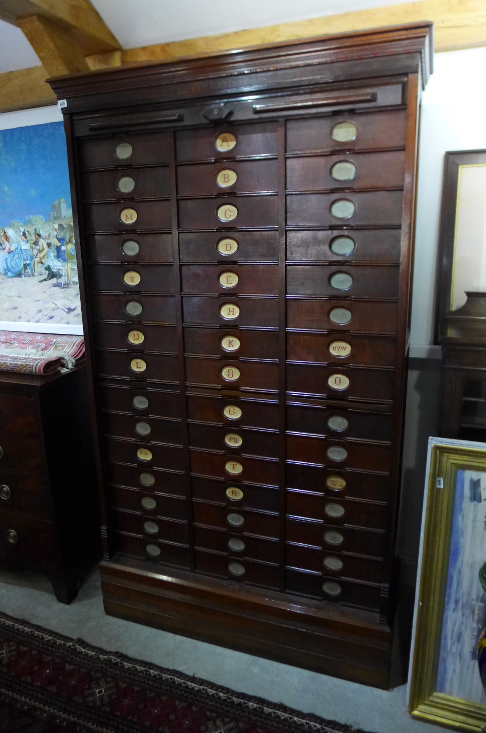 a good quality victorian mahogany tambour fronted amberg s patent