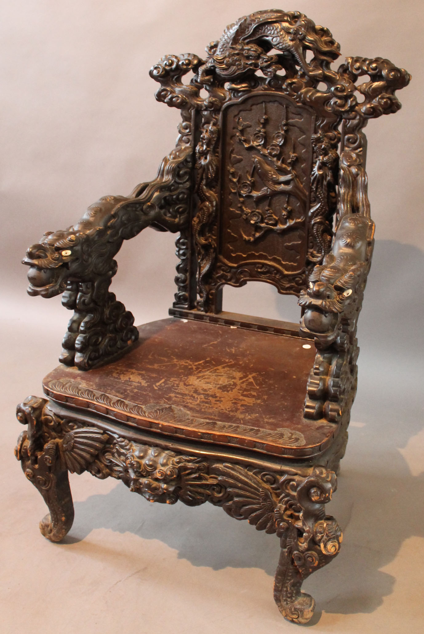 Lot 1750 - A Chinese carved Hongmu style - A Chinese Carved Hongmu Style 'dragon' Throne Chair, Early To Mid
