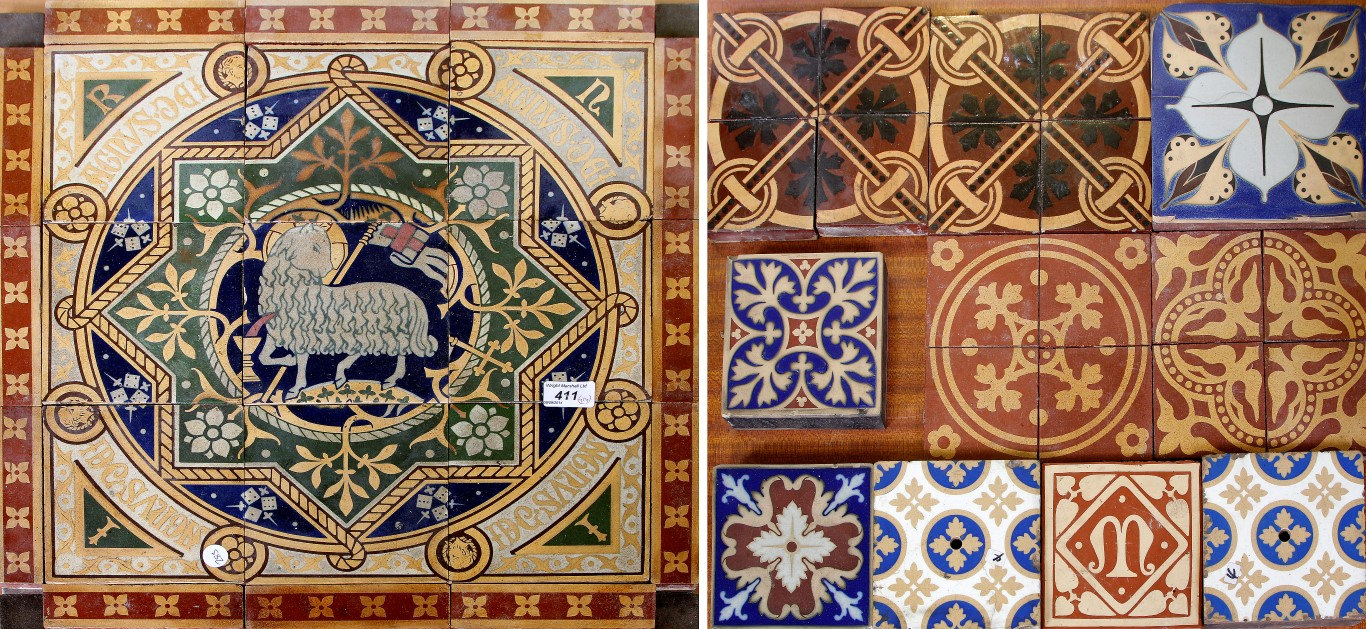 A Collection Of Victorian And Later Encaustic Floor Tiles