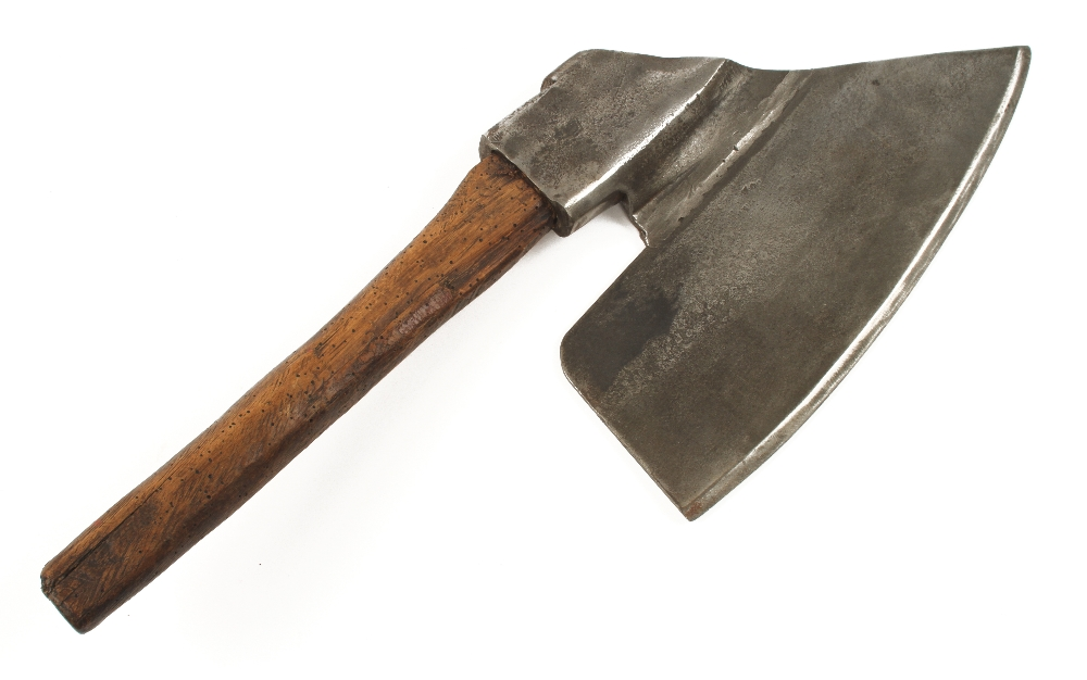 """An Austrian broad axe with faint mark of M SUSSMAN c1910 with 13"""""""" edge, handle wormy but treated G"""