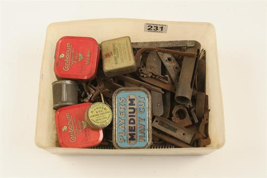 A box of flintlock and percussion gun parts and spares G