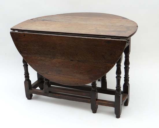 An early 18thc oak oval gate leg table with drawer to one end 42 wide - Gateleg table with drawers ...