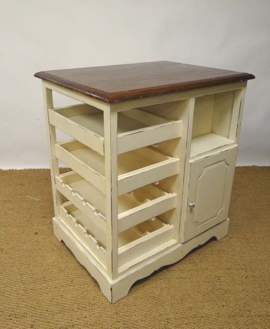 cream painted and mahogany topped kitchen island unit with drawers