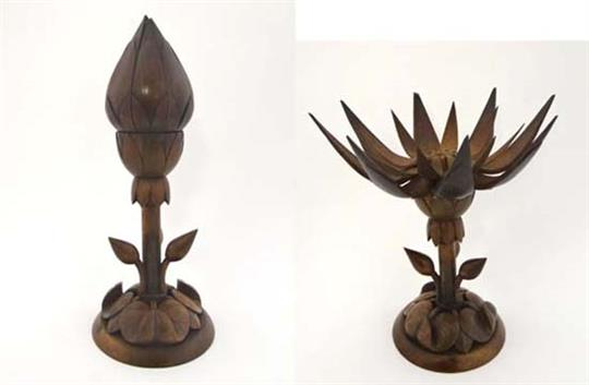 An Unusual Carved Wooden Mechanical Candlestick Formed As A Lotus