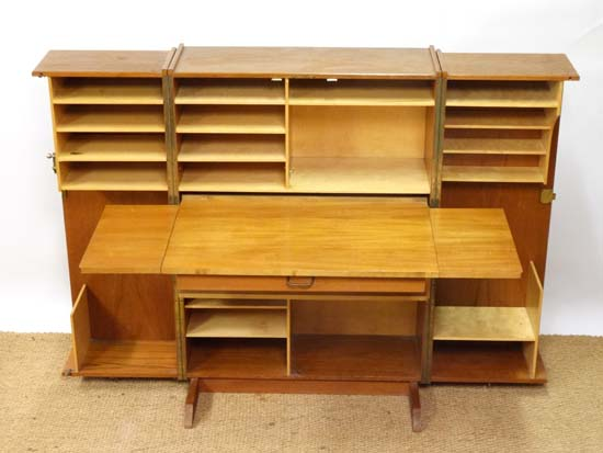Lot 68 - Vintage Retro : an English designed 1960's Newcraft Ltd Teak Folding Home Office / Desk , with large