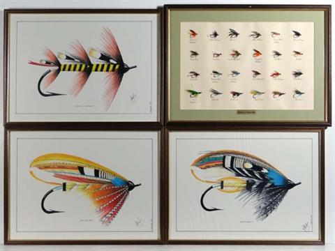 Fly Fishing : A framed set of 24 Salmon and Trout flies plus three ...