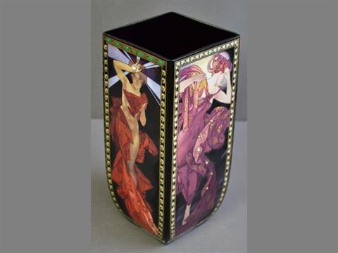 A Goebel Alphonse Mucha Glass Vase The Stars Of Rectangular Form