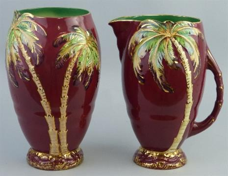 A Beswick Vase Of Ovoid Form Moulded And Painted With Palm Trees On