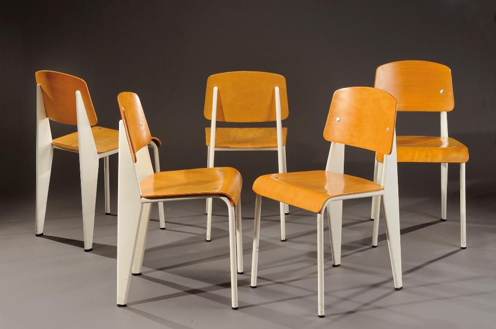Jean prouve 1901 1984 exceptionnelle suite de cinq - Chaise jean prouve prix ...