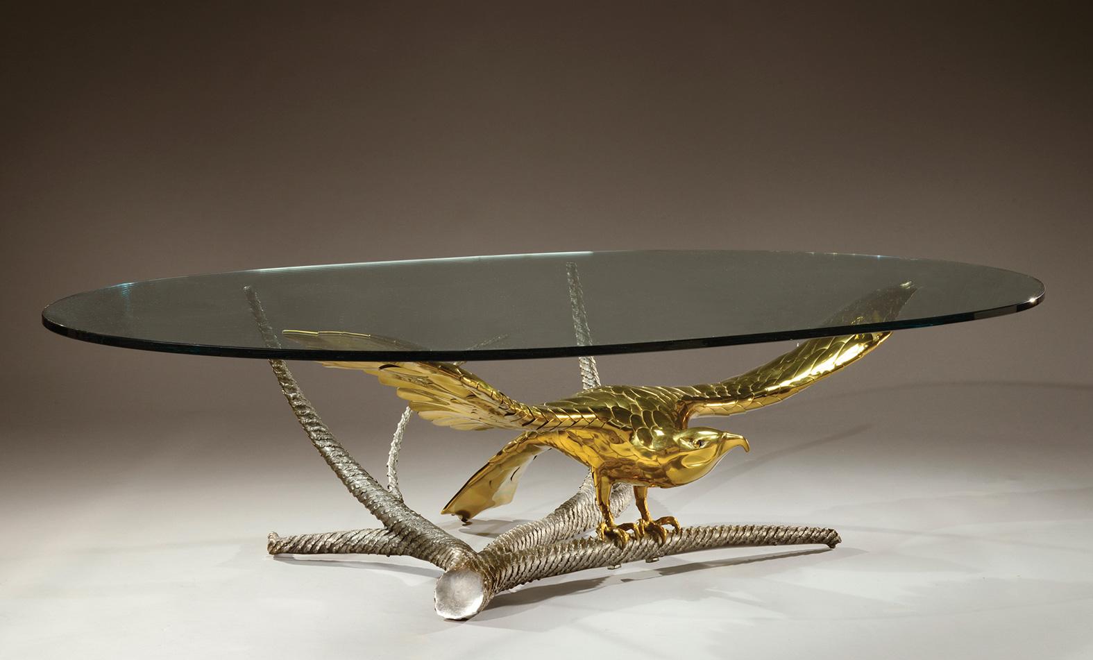 alain chervet n en 1944 importante table basse plateau ovale en paisse dalle de verre repo. Black Bedroom Furniture Sets. Home Design Ideas