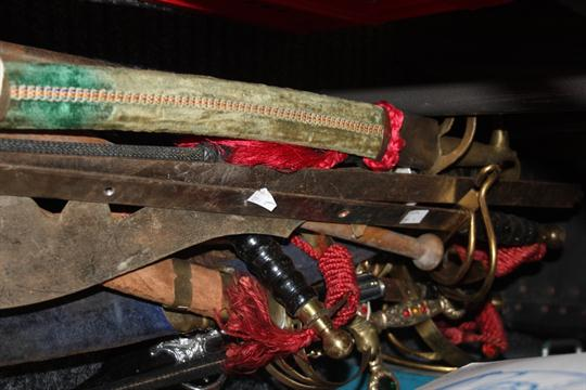 A reproduction basket hilted rapier, battle axe, Middle