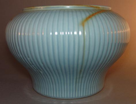 A Chinese Porcelain Vase The Ribbed Body With Allover Duck Egg Blue