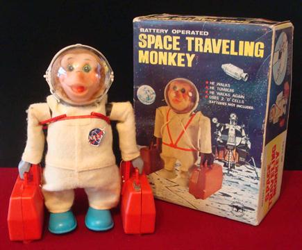 Yanoman Toys Japan Battery Operated 5883 Space Travelling Monkey Toy