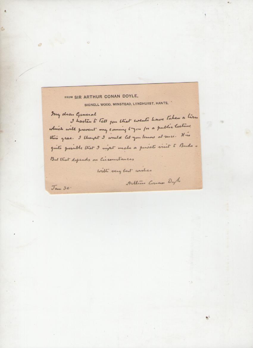 Lot 403 - Autograph ? Literature ? Sir Arthur Conan Doyle autograph letter signed on a correspondence card to