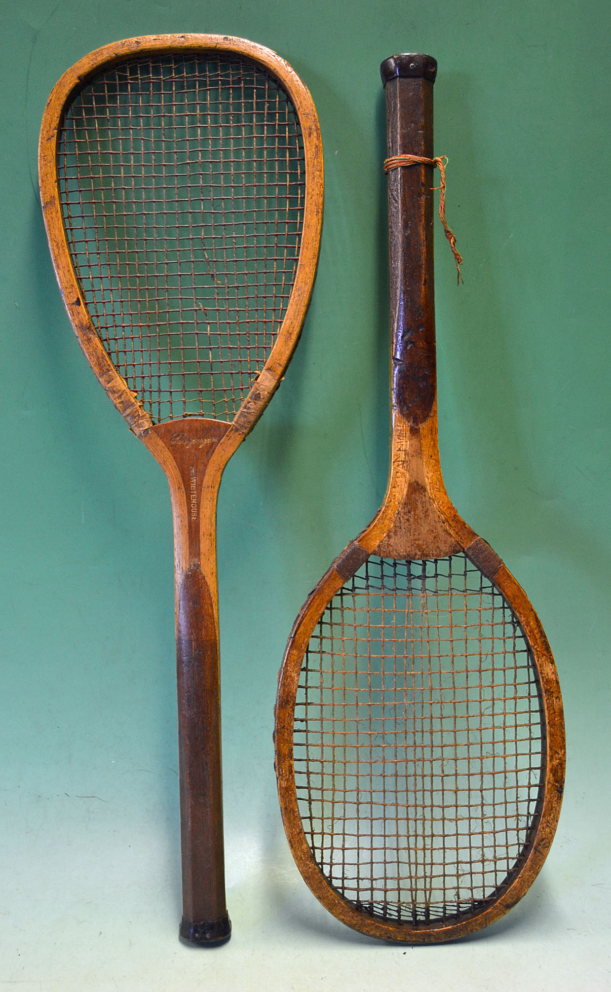 "Interesting Slazenger ""SKL"" late flat top wooden tennis racket with"