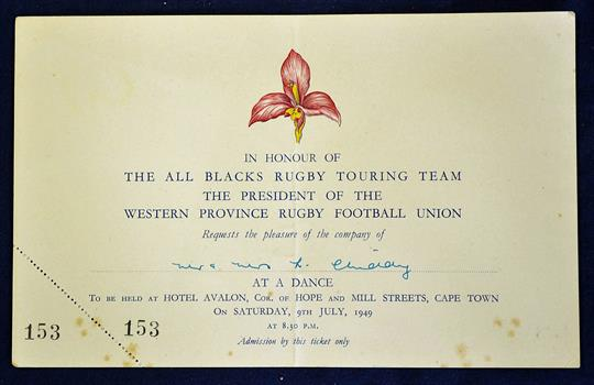 1949 western province v new zealand rugby dinner invitation card 1949 western province v new zealand rugby dinner invitation card dated 090749 at the hotel aval stopboris Choice Image