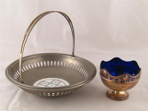 WMF . A swing handled silver plated pierced fruit bowl with inset ...