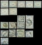 I.F.S. ALWARThe balance of the collection on four album pages with 1877 rouletted ¼a and 1a unused