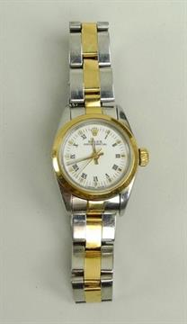 A lady's Rolex Oyster Perpetual stainless steel and gold plated wristwatch,  no. 78343, white dial