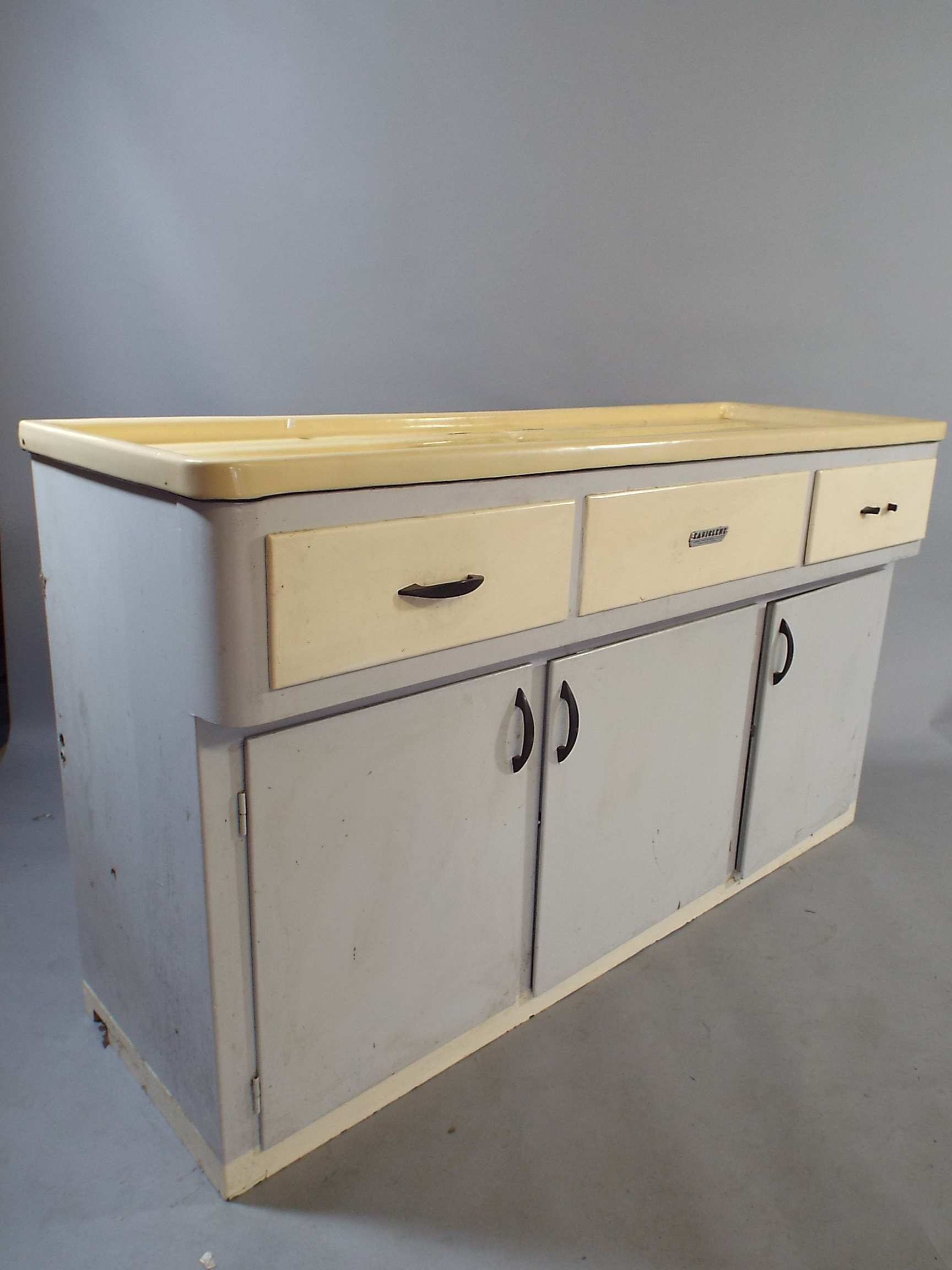 A 1950s easiclene double kitchen sink unit with three for Double kitchen base unit