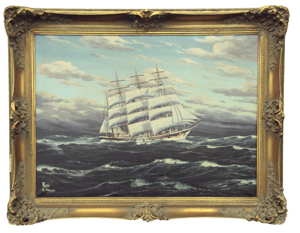 Lot 732 - S Didszus (20th C.) `Pamir at Sea` Oil on canvas Signed (lower right) 60 x 8cm.