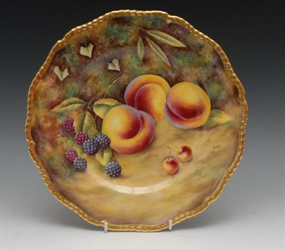 A Royal Worcester fruit pattern plate, painted by Brian Cox, signed ...