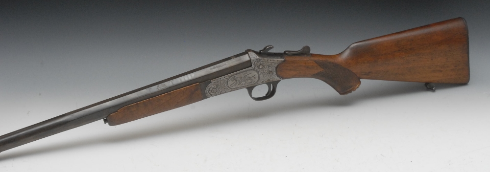 A single barrel shotgun, 16 5mm bore 70cm long barrel, stock