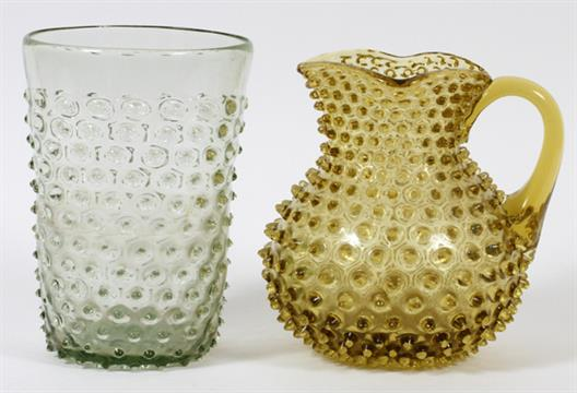Hobnail Glass Vase Pitcher H 8 Including 1 Early Hand Blown