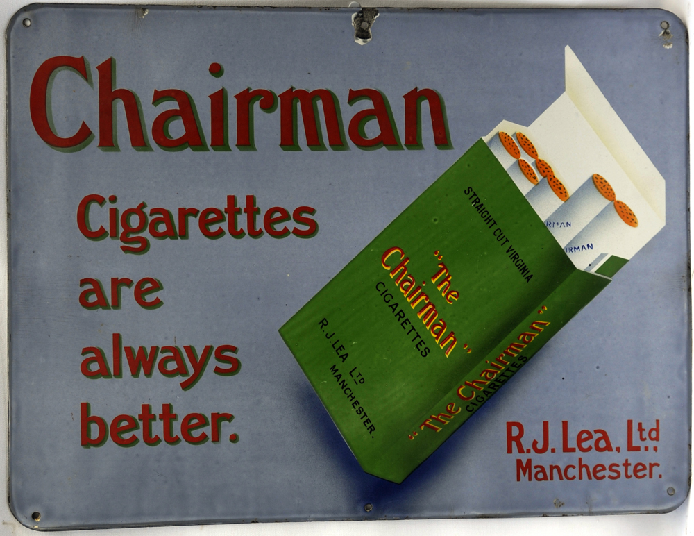 "Lot 498 - Enamel Advertising Sign ""Chairman"". Single-sided measuring 24"" x 18"". Blue Green Cigarette Packet in"