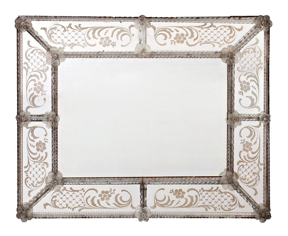 Venetian mirror with frame of engraved mirrors and Murano glass ...