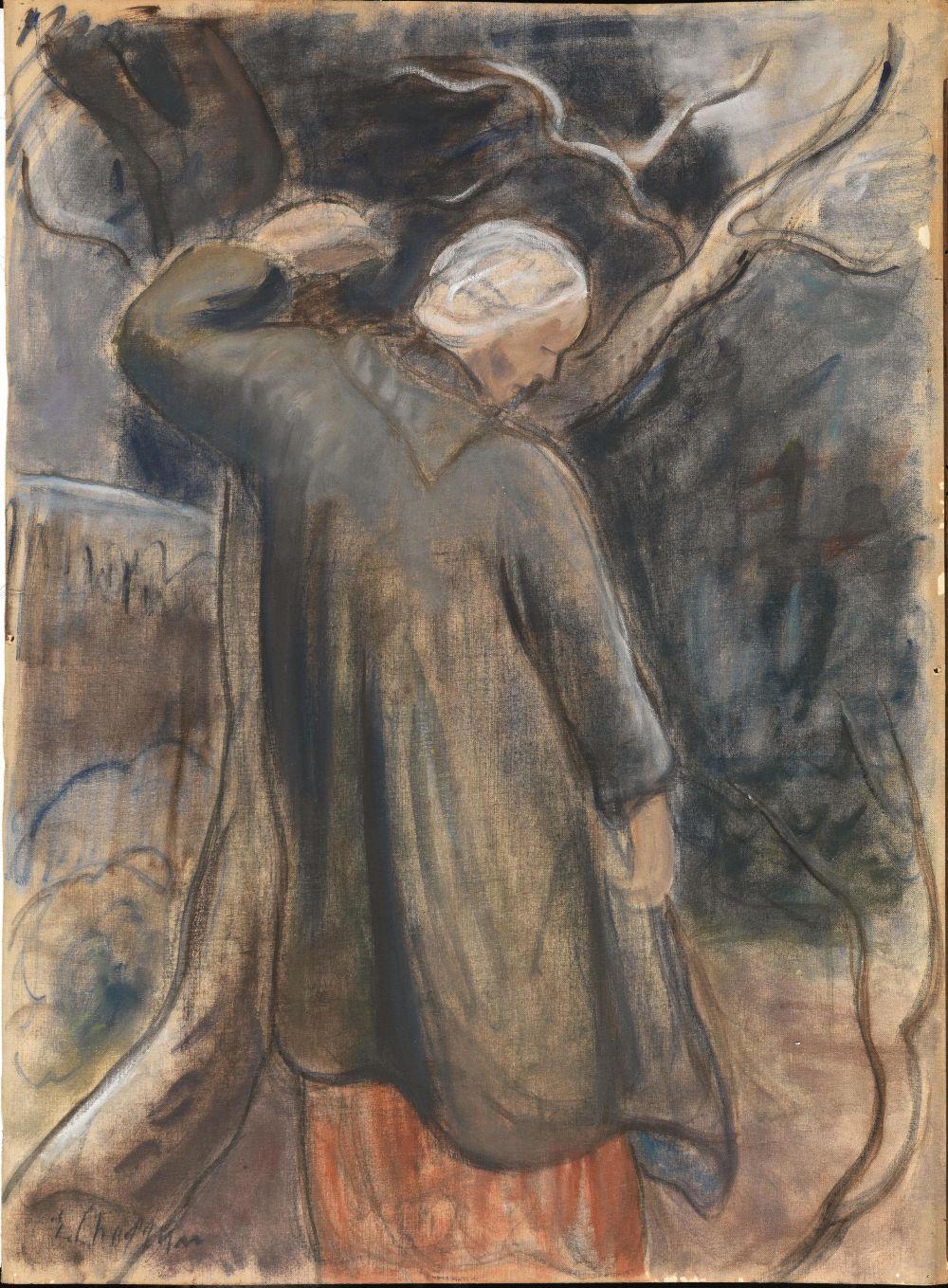 Lot 259 - Chaplin, Elisabeth (Fontainebleau 1890 - Firenze 1982)INVERNO. Olio su cartone telato. mm 687x510.